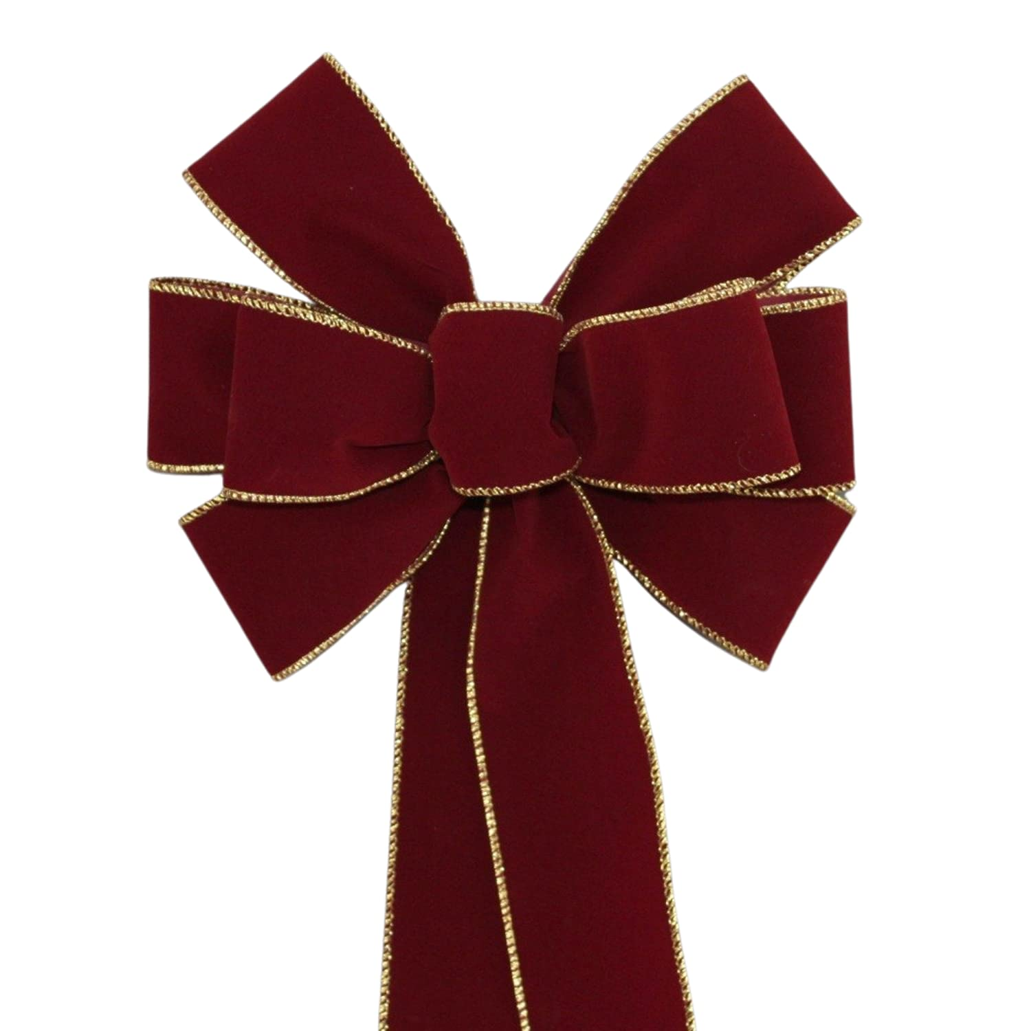Burgundy Velvet Gold Wire Edge Christmas Color Max 60% OFF a Wreath Bow Genuine Free Shipping with
