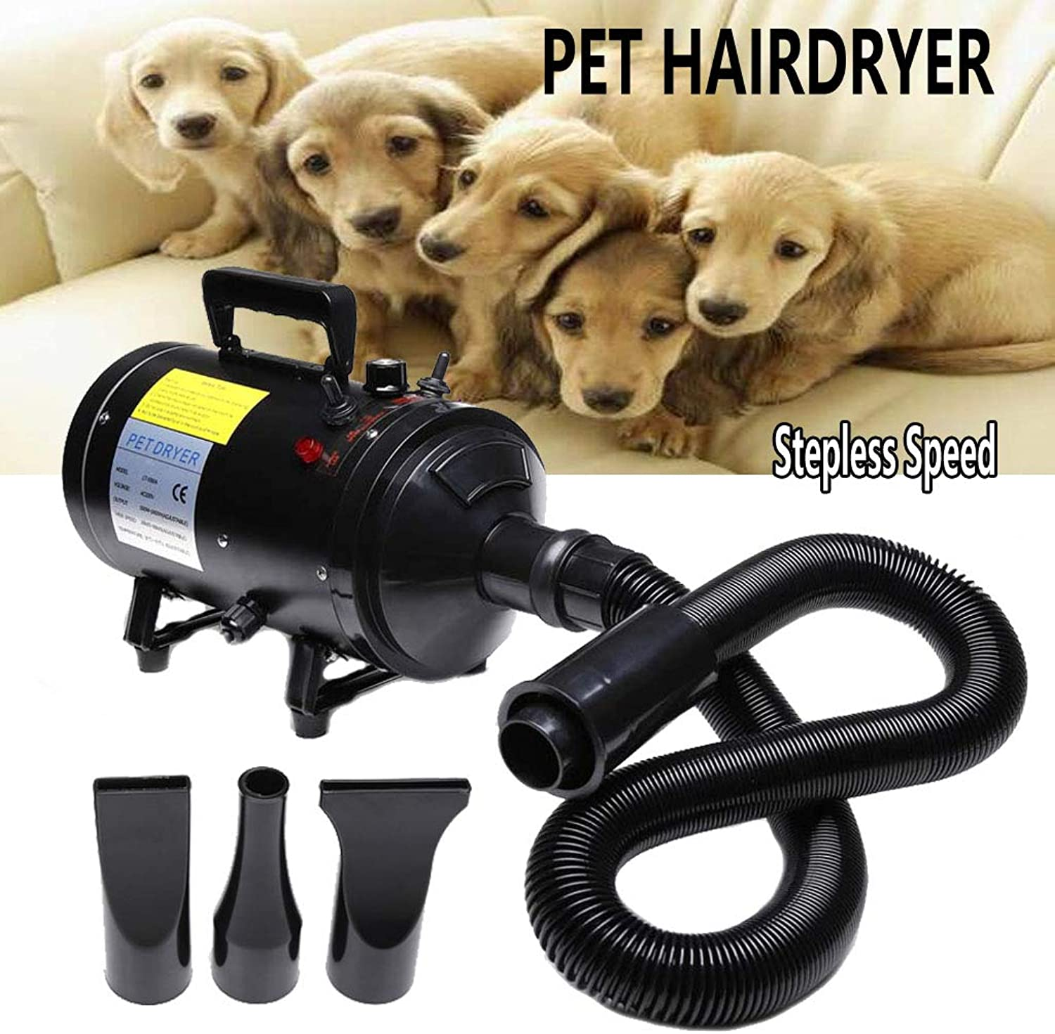 AutoFu 380W2800W Pet Grooming Hair Dryer Black Blaster Dryer with Stand for Dog Cat Car  Low Noise Stepless Speed Blower Heater Pet Bathing Accessories