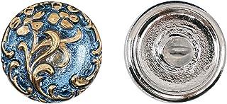 Botones, 1 Pieza, Button prensado Redondo checo con una caña de Metal, tamaño 8 (diámetro 18 mm), Vidrio Bohemio, Pintado a Mano, Deep Pale Blue with Gold Floral Ornament