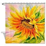 rioengnakg Schimmelresistent Polyester Fresh Sunflower Duschvorhang Polyester Duschvorhang wasserdicht, Polyester, #1, 66