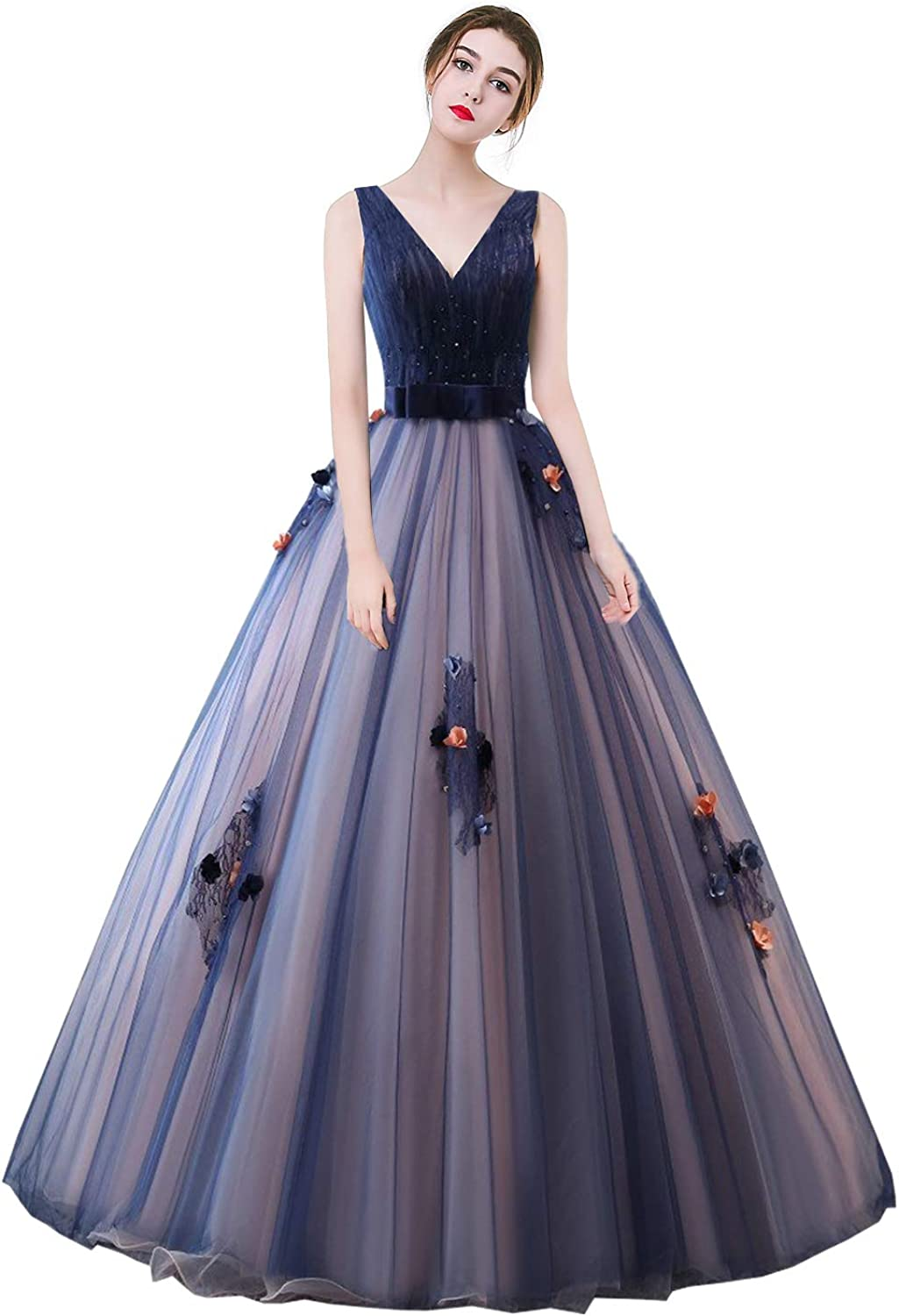 Libaosha Gorgeous Quinceanera Dress Flower Appliqued Ball Gown for Sweet 16 Party & Ceremony