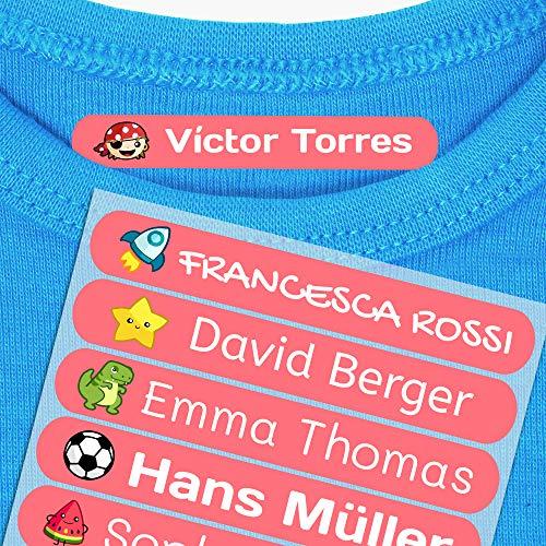 50 Etiquetas adhesivas para ropa personalizadas. Pegatinas termoadhesivas con nombre para marcar la ropa de niños y bebés...