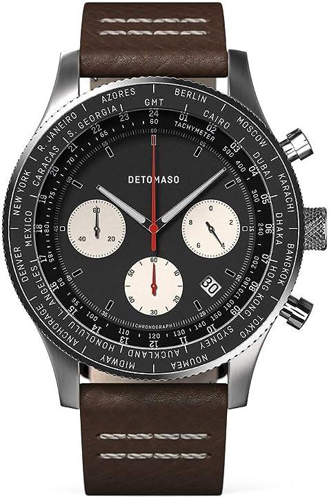 Detomaso firenze - cronografo da uomo, analogico, al quarzo, cinturino in pelle, marrone scuro D08-04-16