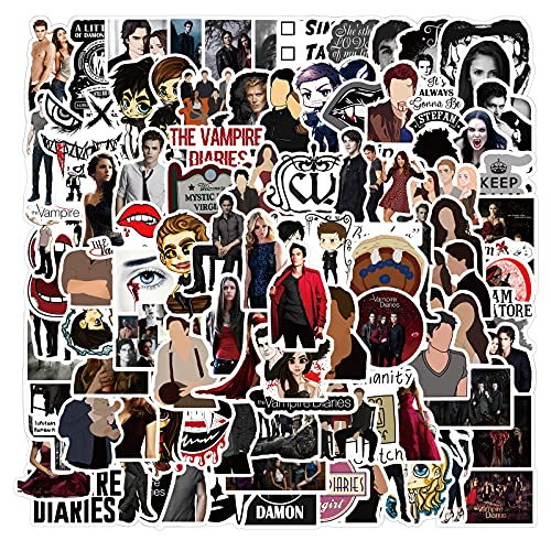 The Vampire Diaries - 100 adesivi per bottiglia d'acqua, laptop, telefono, chitarra, skateboard, moto, moto, in vinile, impermeabili, per ragazzi e adulti