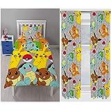 Pokemon Catch Rotary Bettbezug Set + Passende 182,9cm Vorhänge