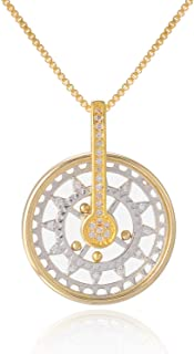 FM FM42 Pave Simulated Cubic Zirconia Mini Rolling Ball in Glass Locket Gear Kinetic Moving Pendant Necklace