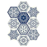 10個/セット六角床タイルステッカーピールスティック防水PVCの自己接着の壁のステッカーのキッチンバスルーム、11.5x20.0 cm/PC用,Blueb