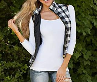 Womens Casual Slim Fall Plaid Vest Outdoor Quilted Stand Collar Vest Jacket with Zippers