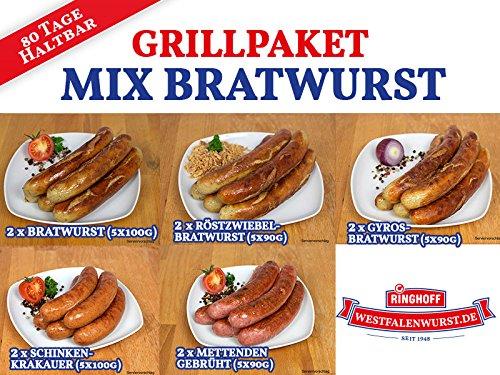 Grill-Paket Mix Bratwurst / Rostbratwurst / Röstzwiebelbratwurst / Gyrosbratwurst / Schinkenkrakauer / Grillwurst ideal für Grill und Pfanne - Original westfälisch Ringhoff Ab Frühjahr 2019 wieder lieferbar!