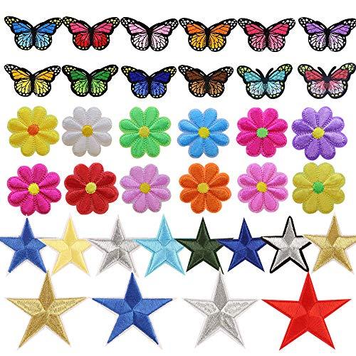 Zasiene Parches Ropa 36 Piezas Parches de Planchado Parches de Mariposa Flor Estrella de Ropa Termoadhesivos Parches de Hierro Parches Apliques Bordados para Bricolaje Costura Ropa