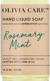 Liquid Hand Soap By Olivia Care – Made with Natural Antibacterial Ingredients & Rosemary Mint Fragrance, Cleansing, Germ-F...