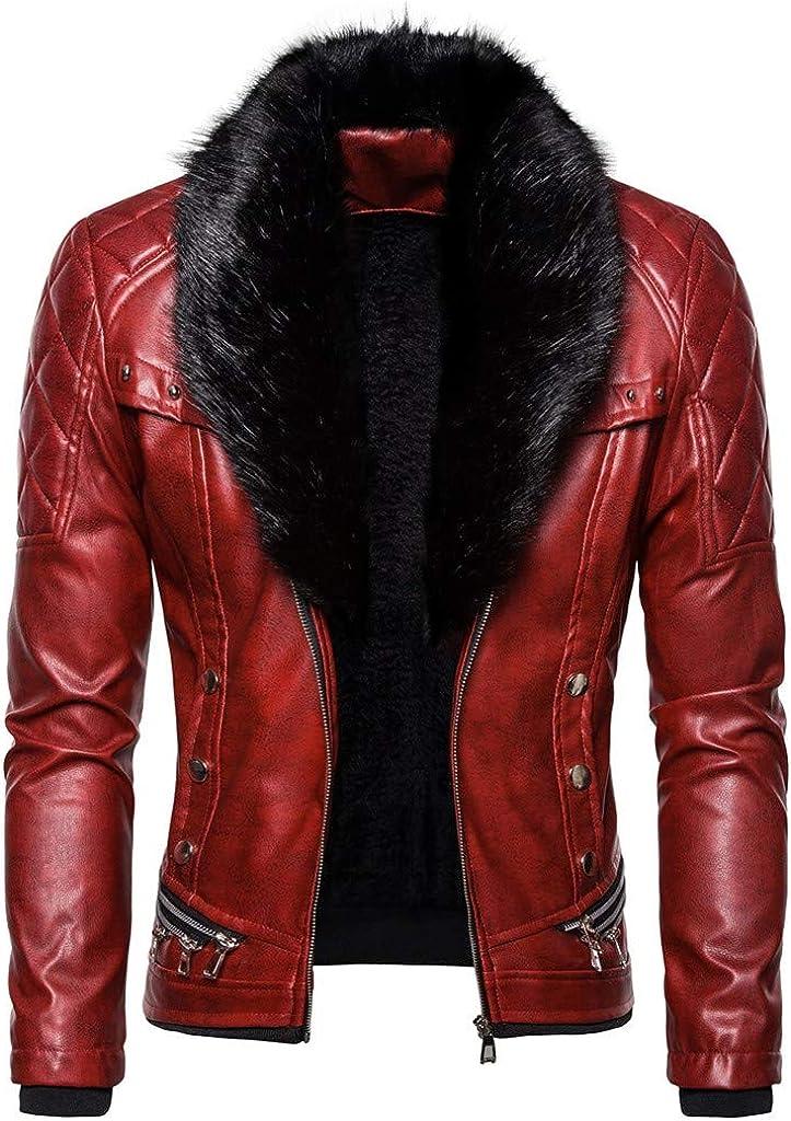 Men's Zipper Removable Fur Collar Jacket,Leather Vintage Steam Pocket Punk Gothic Retro Coat