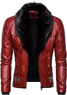 SPE969 Men's Zipper Removable Faux Fur Collar Jacket,Leather Vintage Steam Pocket Punk Gothic Retro Coat