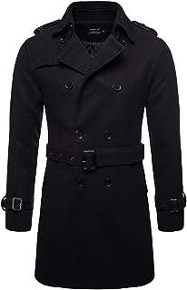Men's Trench Coat Woolen Winter Long Double Breasted Overcoat Slim Fit Warm Pea Coat