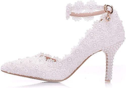 Moojm mujeres Tacones Altos Sandalias De Encaje blanco Perlas zapatos De Boda Punta Puntiaguda zapatos De Novia,blanco,EU37