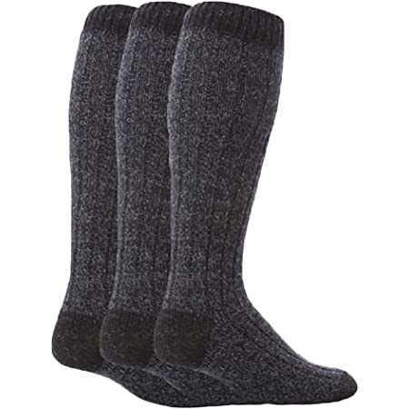 Workforce - 3 Pairs Mens Extra Long Knee High Thick Warm Wool Rich Knitted Boot Socks