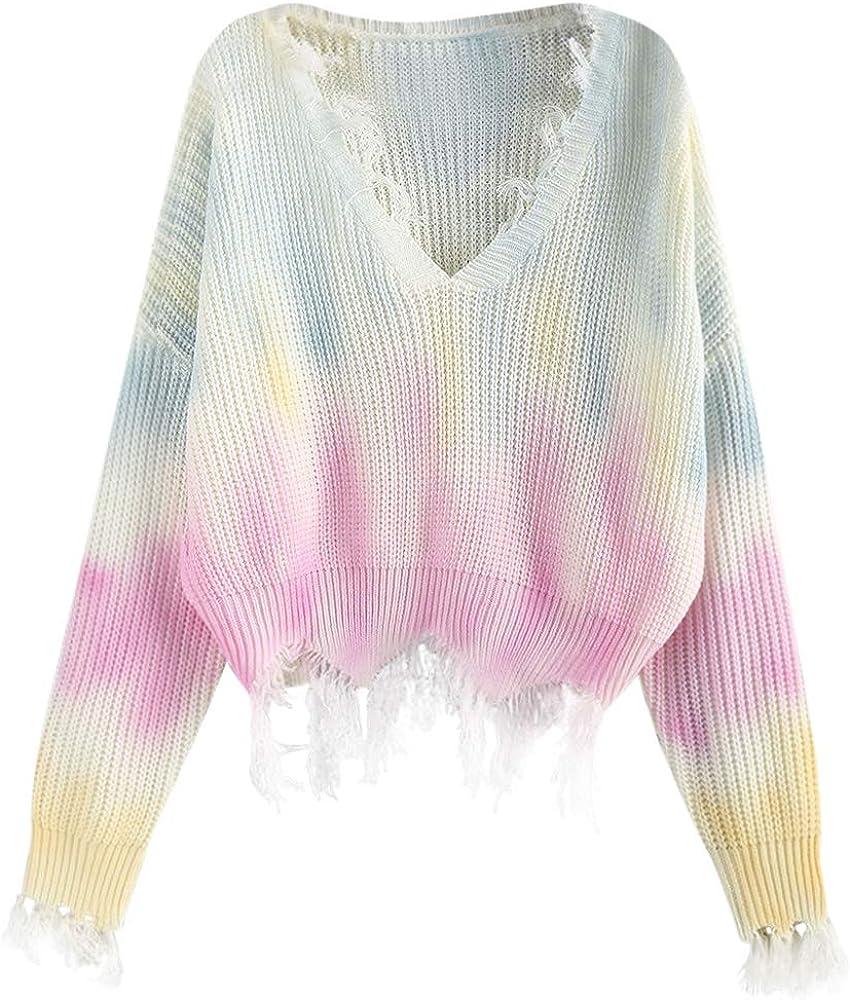 ZAFUL Women's V-Neck Knit Sweater Long Sleeve Ripped Tie Dye Pullover Crop Top Jumper