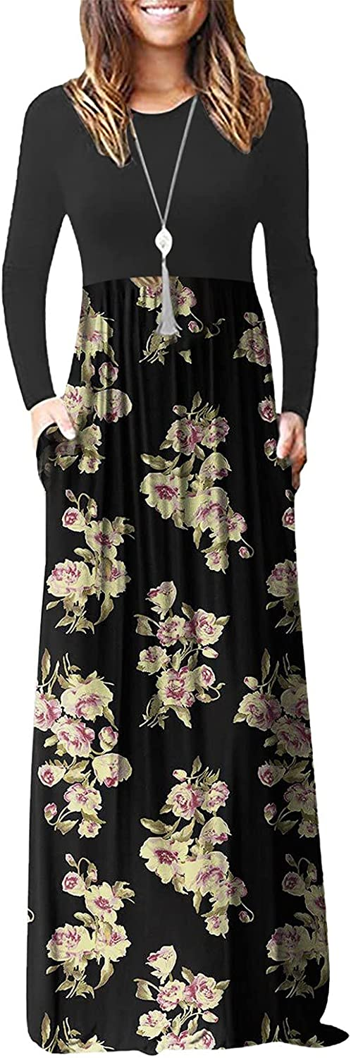 Women's Casual Printed Maxi Dress Plus Size Slimming Polyester Soft Stitching Bohemian Sun Skirt with Pockets