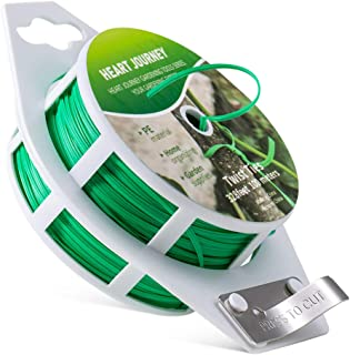 Heart Journey 328 feet (100M) Twist Ties Plastic Coated with Cutter for Garden Plants, Twist Tie for Home & Office. Green ...