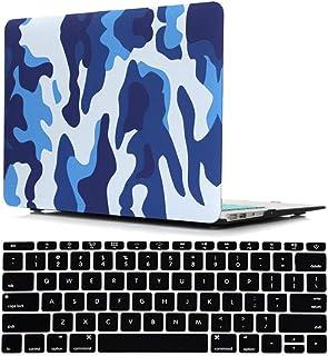 زاياليتيه غطاء ماك بوك اير 13 انش A1369 و A1466 اصدار 2017-2010 ، اي زد اي واي العسكرية غطاء لوحة مفاتيح اسود ، ازرق