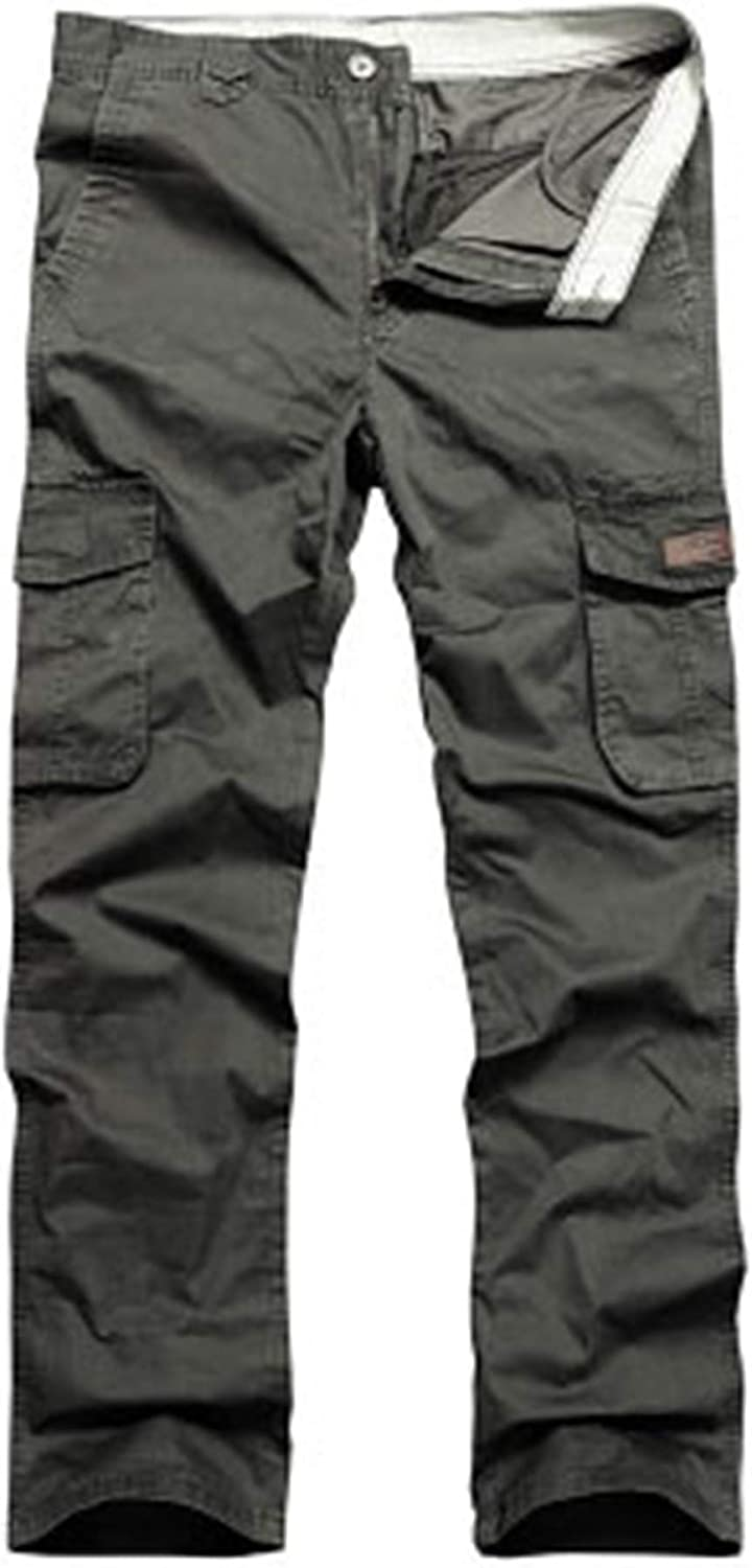 Asupermode Men's Multi Pocket Casual Pants Overalls Loose Large Size Casual Sports Trousers Cotton Military Style Jeans