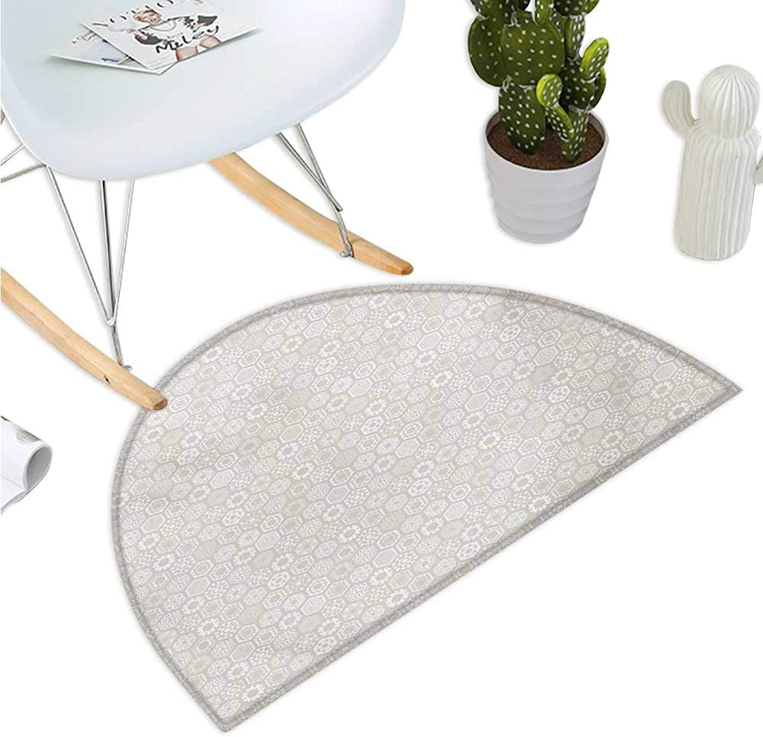 Winter Half Round Door mats Stylized Flakes with Hexagonal Comb Pattern Mosaic Tile Style Year Celebration Entry Door Mat H 51.1  xD 76.7  Beige White