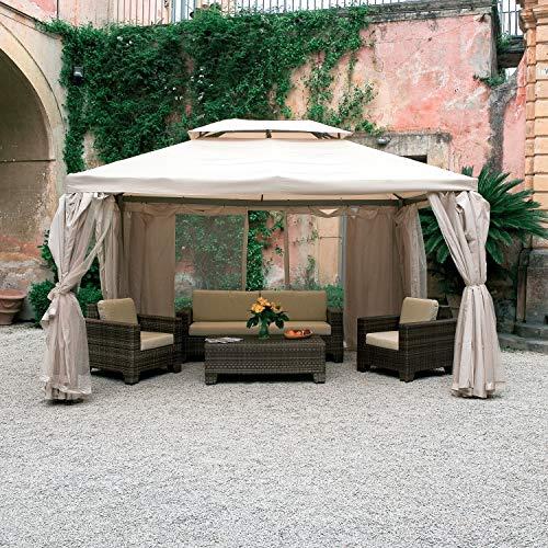 Paviljoen van aluminium voor tuin Sahara mt.3x4 dekzeil en muggennet