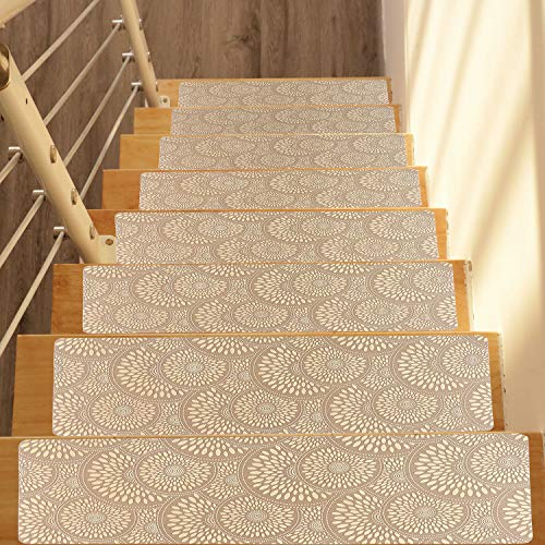 Famibay Set of 13 Rubber Backing Stair Treads Carpet Indoor Outdoor Safety and Grip Non Slip Stair Treads Mats Wear Resistant Rubber Stair Carpet Rug 9.4 x 25.6 Inches(Beige)
