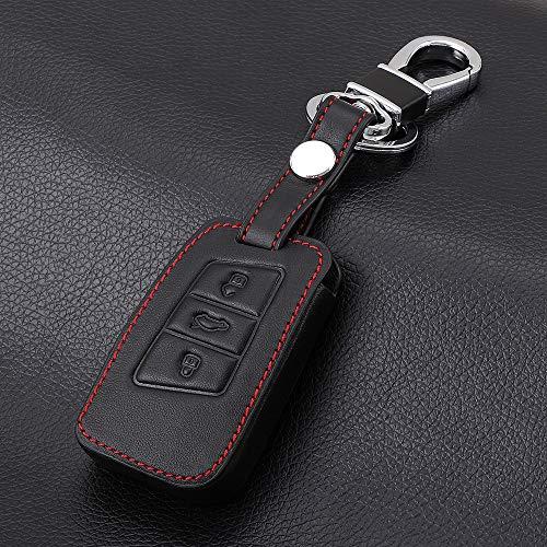 FGJIHB SchlüsseletuiLeder Smart Key Cove Fall Für VW Passat B8 CC Tiguan MK2 Für Skoda Superb A7 Smart Fernbedienung 3 Tasten Schlüsseltasche