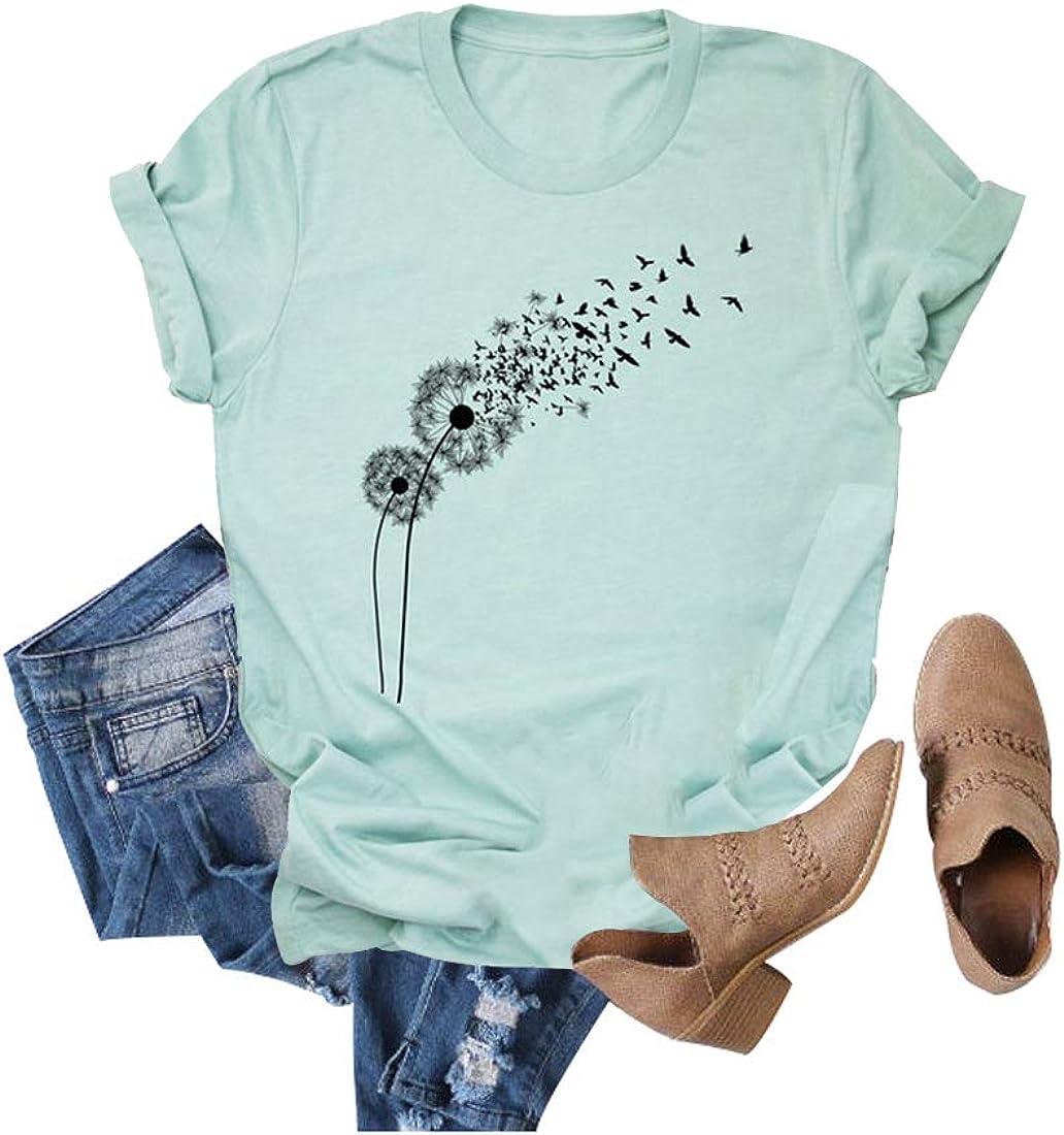 Max 74% OFF Casual Make a Houston Mall Wish Dandelion Cute Women's Short T-Shirt Graphic