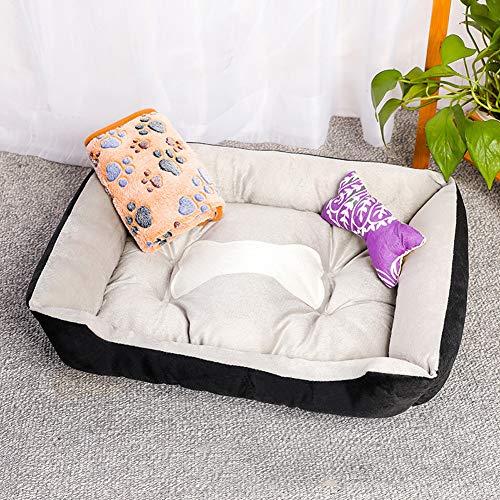 Deluxe hondenmand, wasbaar in de machine antislip pluche kattenmand kattenkussen hondenbank met kussens/dekens voor kleine middelgrote grote honden katten