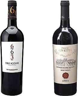 [ 2本 まとめ買い ワイン 飲み比べ ] トレ イコーネ (ヴィニエティ デル サレント) 750ml と 2017年 ゴヴェルノ アッルーゾ トスカーノ ポッジョ チヴェッタ (テヌーテ ロセッティ) 750ml ワインセット