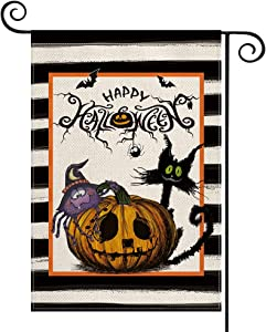 AVOIN colorlife Stripes Happy Halloween Garden Flag Vertical Double Sided, Jack-O'-Lantern Black Cat Bat Cute Spider Holiday Party Yard Outdoor Decoration 12.5 x 18 Inch