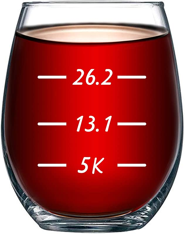 Runner S Measurements Funny 15 Ounce Stemless Wine Glass Unique Birthday Gift Idea For Mom Dad Wife Husband Sister Best Friend Birthday Gifts For Men Or Women
