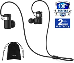 CCK Bluetooth Headphones Wireless Earbuds Sports Best Running Earphones Hi-Fi Stereo Noise Cancelling Sweatproof for Gym Workout Exercising in Ear Headsets Computer iPhone Android (Black), S,M,L