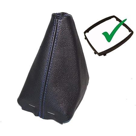 Schaltsack Schaltmanschette Mit Kunststoff Rahmen Schwarz Echt Leder Blau Naht Auto