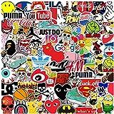KOWASO Pacchetto di Adesivi per Laptop 100 Pezzi, Adesivo alla Moda Adesivi Fantastici Unici Adesivo per Acqua Notebook per Chitarra Skateboard Adesivi per Bambini da Viaggio
