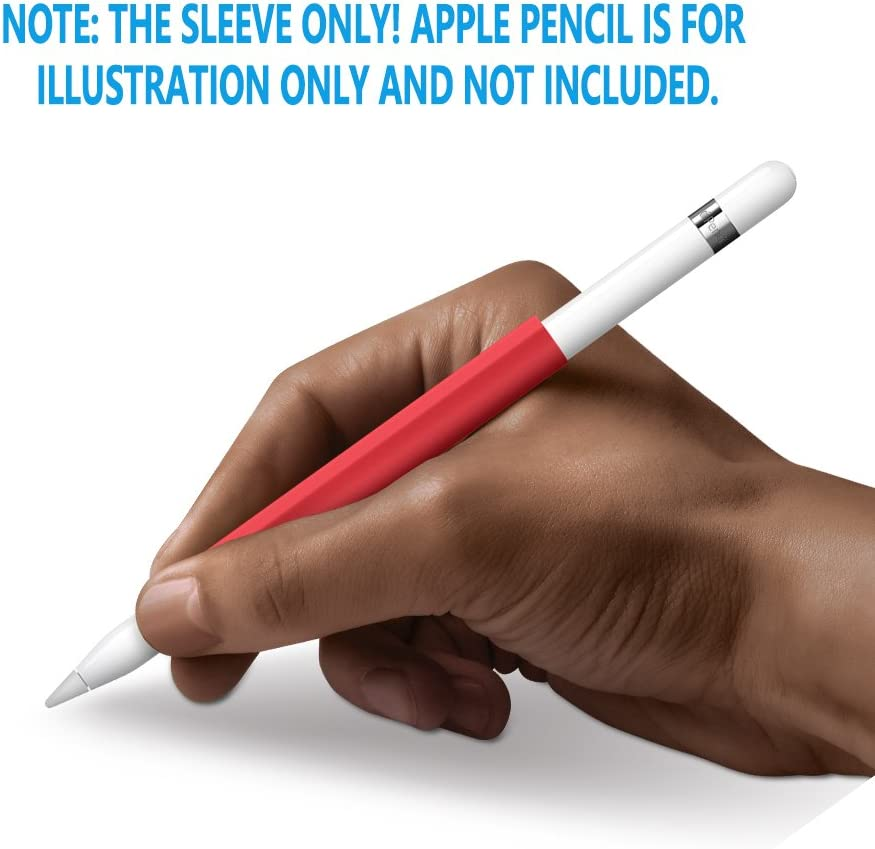 FRTMA for Apple Pencil Magnetic Sleeve, Soft Silicone Holder Grip for Apple iPad Pro Pencil, Red (Apple Pencil Not Included)