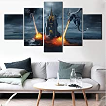 Black and White Pictures Two Dragons Attacking the Castle Paintings Multi Panel Canvas Wall Art for Living Room Contemporary Artwork House Decor Giclee Framed Stretched Ready to Hang(60''Wx32''H)