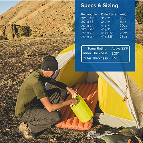 Big Agnes Air Core Ultra Sleeping Pad, (25x72) Wide Regular