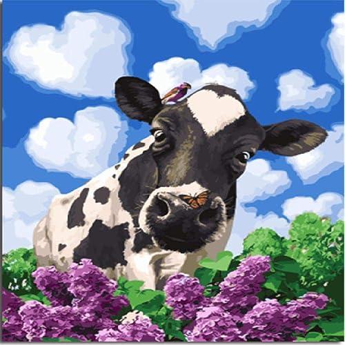 NDSLJSLYH Bricolage Peinture Numérique Vache Animale, 60X75Cm Cadeau De Peinture à l'huile De étudiant Débutant pour Enfants Adultes Peindre Kits Home Decor