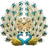 おしゃれな 壁掛け時計 豪華 北欧風 キラキラ 輝く アイアン モダン 壁飾り 電池式 リビング 玄関 デザイン時計 欧風/ラグジュアリー/ダイヤモンド/リビング掛け時計/創意的なクジャクがスクリーンを広げる/超巨大/現代的な装飾/新家/静音/石英時計 (孔雀の壁時計)