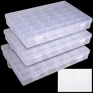 جعبه سازنده پلاستیکی UOONY 3pack 36 Grids با تقسیم کننده قابل تنظیم ظرف ذخیره سازی جعبه طلا و جواهر برای صنایع دستی مهره لوازم ماهیگیری با برچسب های برچسب 400 عدد