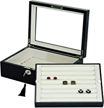 Double Layer Cufflinks Rings Storage Case/Box in Glossy Black