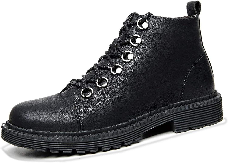 HPLL Schuh Herren Martin Stiefel, Stiefel, High-Cut Tooling Stiefel, Schwarze Herbst und Winter Wanderschuhe, Outdoor-wasserdicht 38-44