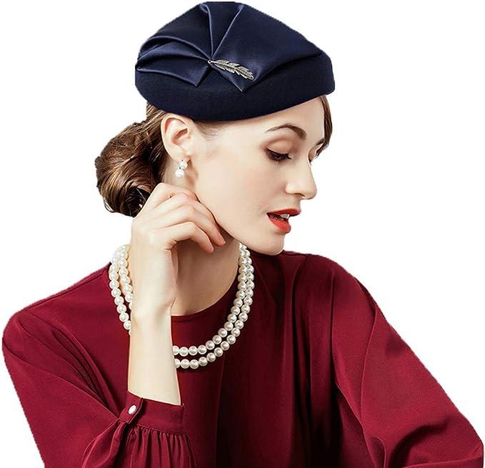 1950s Women's Hat Styles & History F FADVES Ladies Wedding Party 100% Wool Pillbox Hat Elegant Winter Church Vintage Hats  AT vintagedancer.com