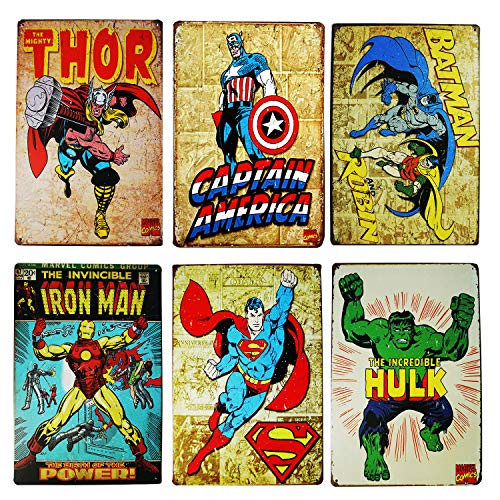 WOSTOD Vintage Superhero Tin Sign Bundle Hulk,Thor,Superman,American Captain,Iron Man,Batman Marvel Comics Distressed Christmas Retro Vintage Metal Tin Sign Wall Decor 6pcs-8x12inch