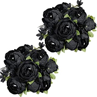 Nubry 2pcs Artificial Peony Silk Flowers Bouquet for Wedding Home Garden Party Decoration (Black)