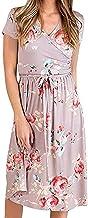 WHZXYDN Zomerjurk voor dames, bedrukte V-hals, korte mouwen, riem, middellange jurk met korte mouwen