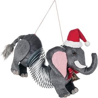 Elephant Slinky with Santa Hat 7 inch Specialty Christmas Ornament